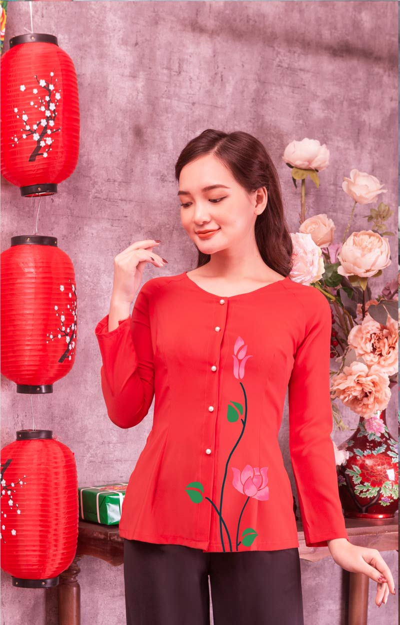 Áo bà ba hoa sen hồng màu đỏ