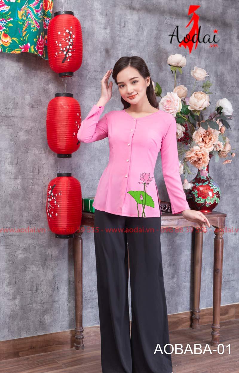 Áo bà ba hoa sen màu hồng 01