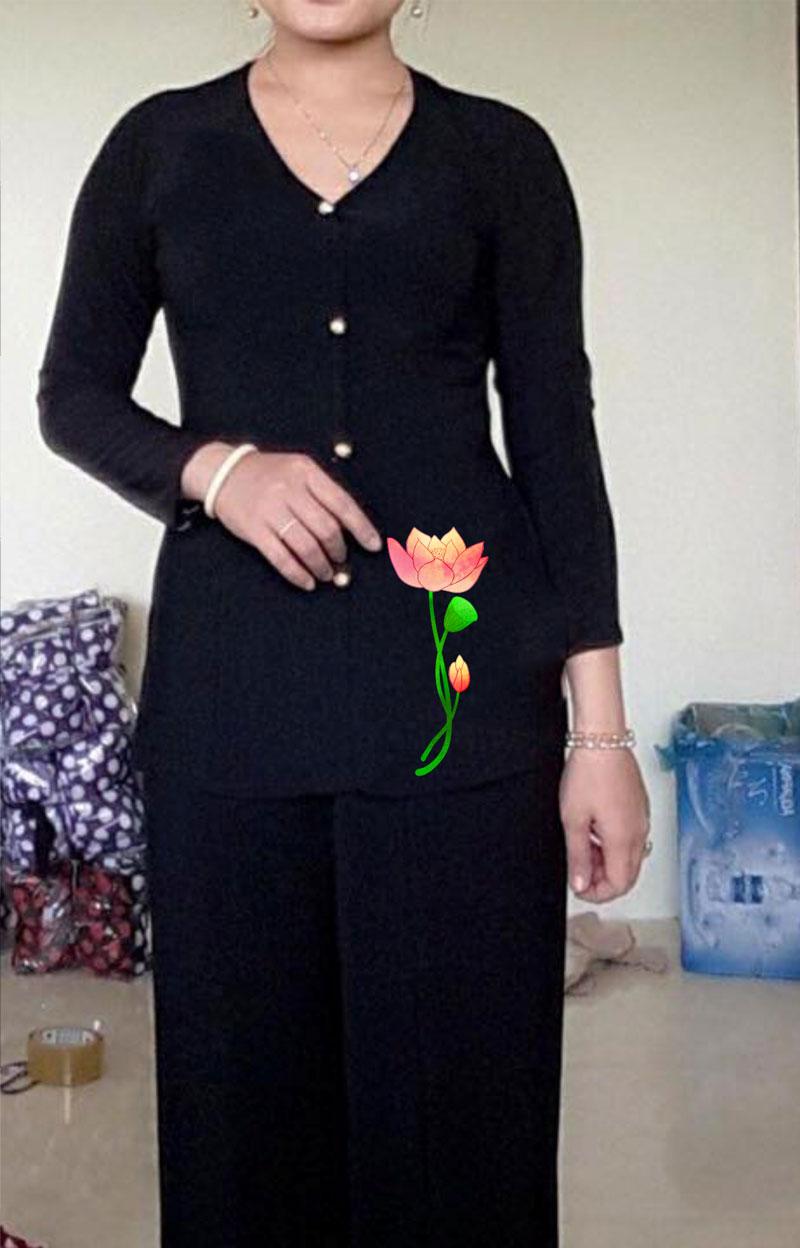 Áo bà ba hoa sen màu đen 03