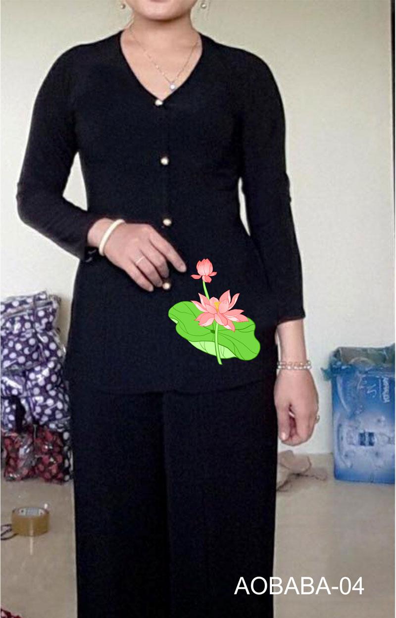 Áo bà ba hoa sen màu đen 04