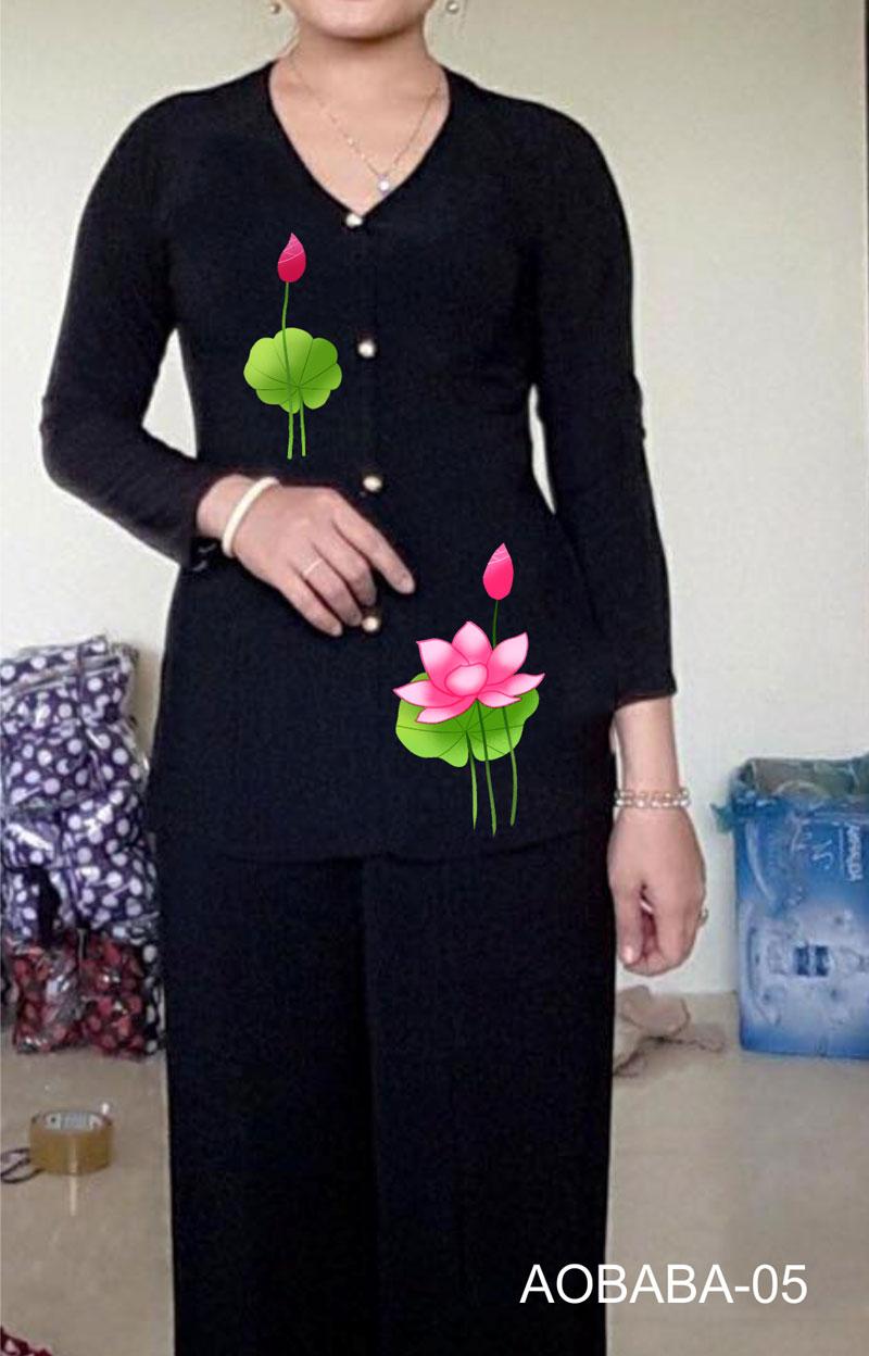 Áo bà ba hoa sen màu đen 06