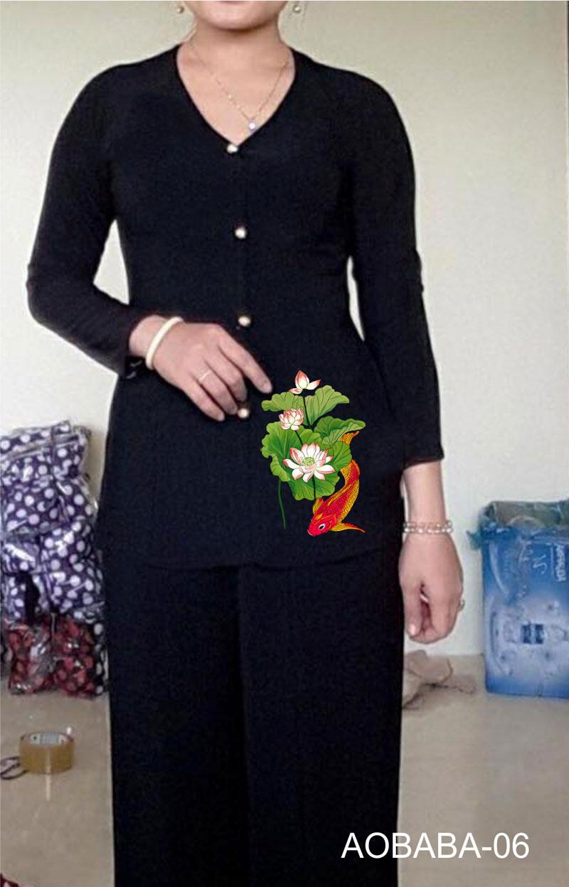 Áo bà ba hoa sen màu đen 08