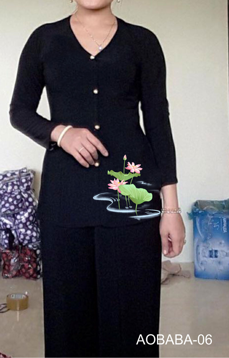 Áo bà ba hoa sen màu đen 09