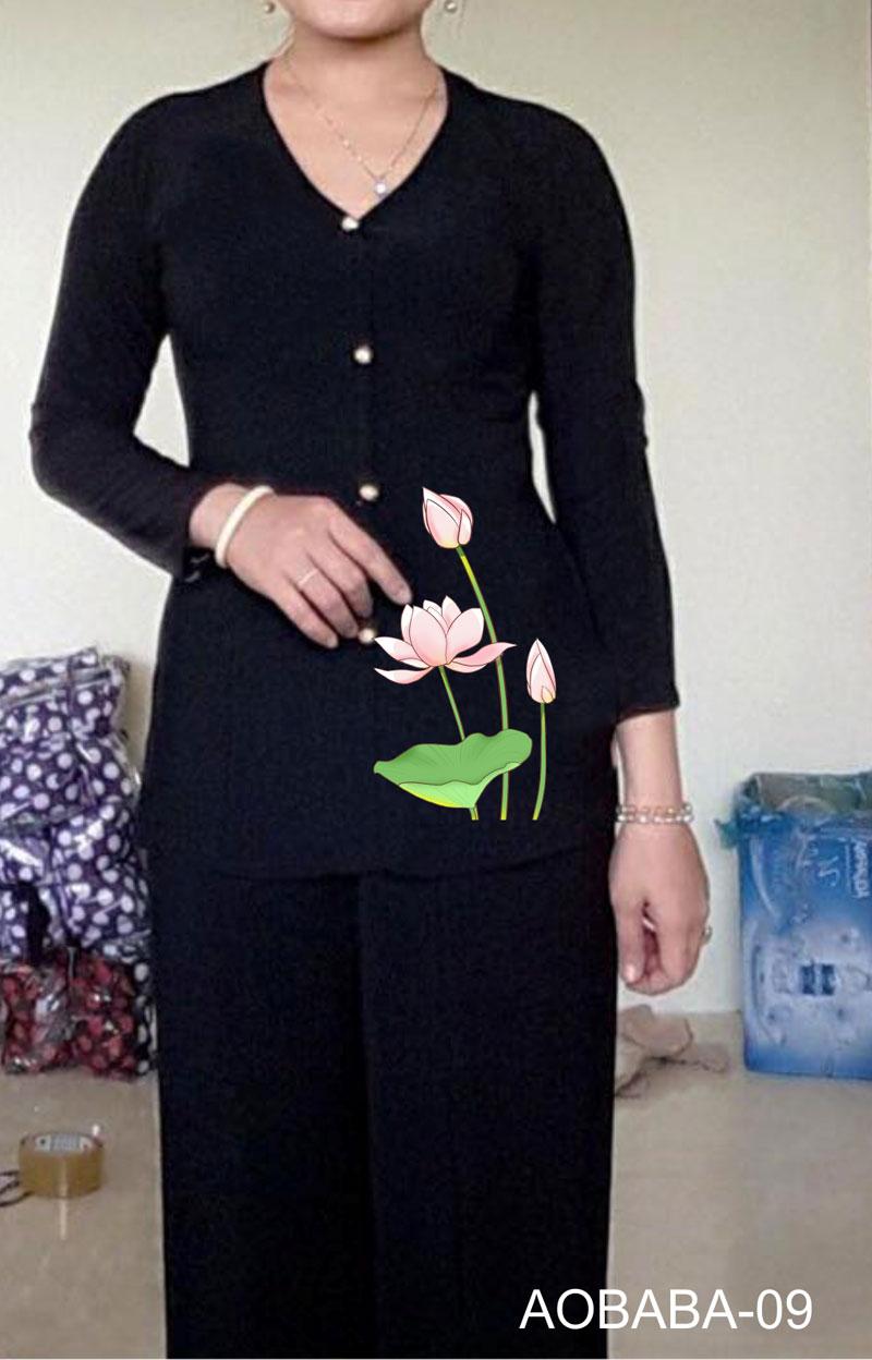 Áo bà ba hoa sen màu đen 10