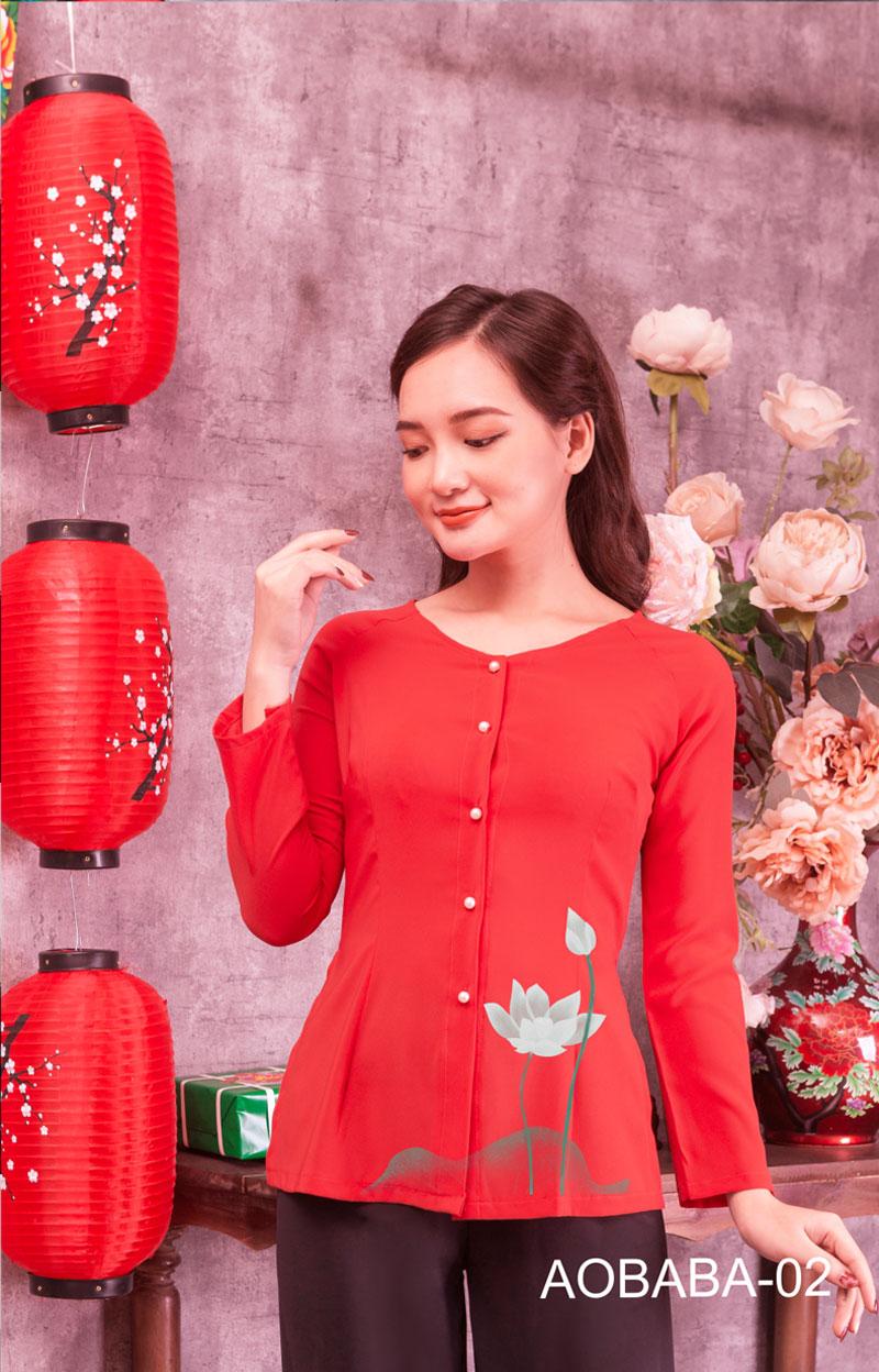 Áo bà ba hoa sen màu đỏ 02