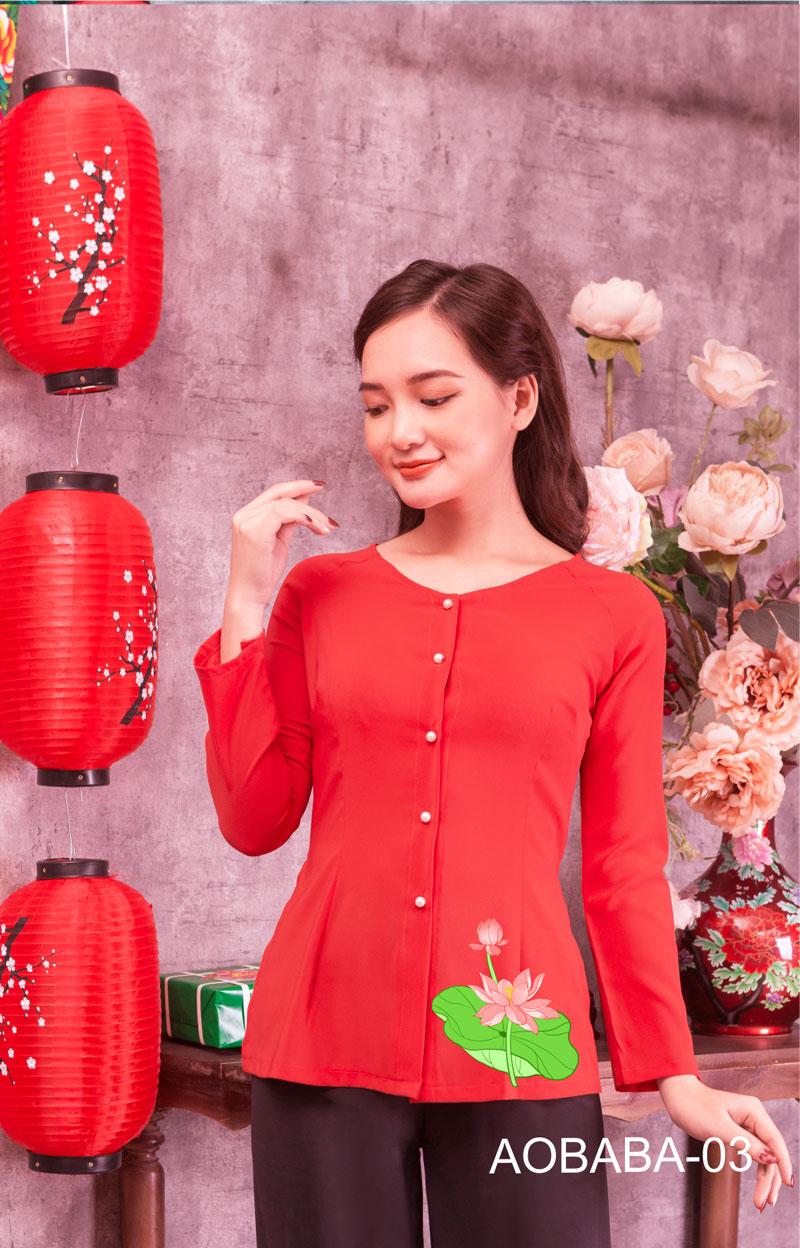 Áo bà ba hoa sen màu đỏ 05