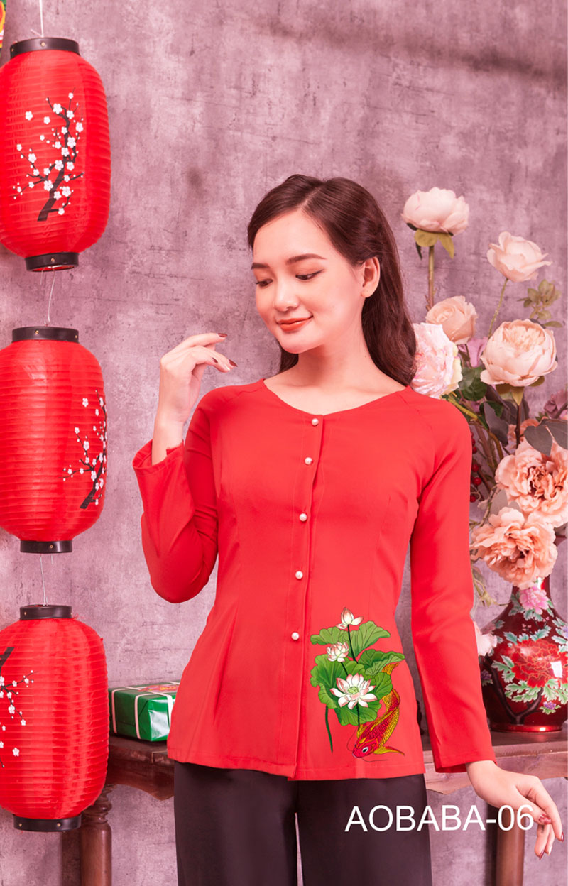 Áo bà ba hoa sen màu đỏ 08