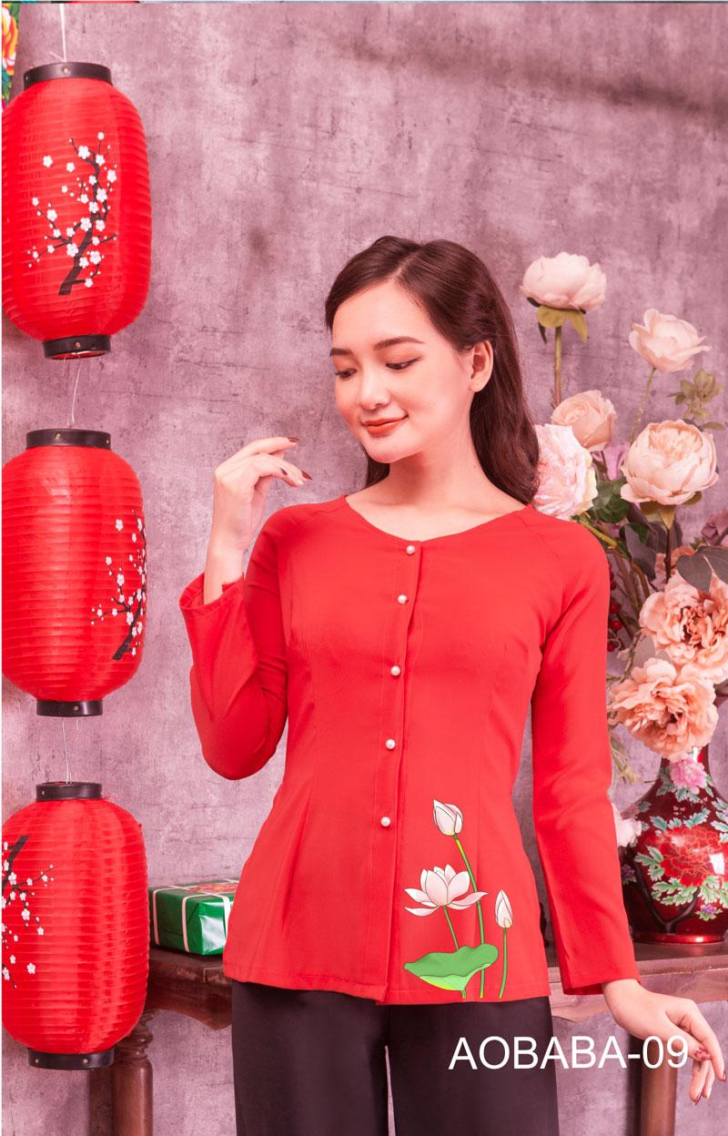 Áo bà ba hoa sen màu đỏ 10