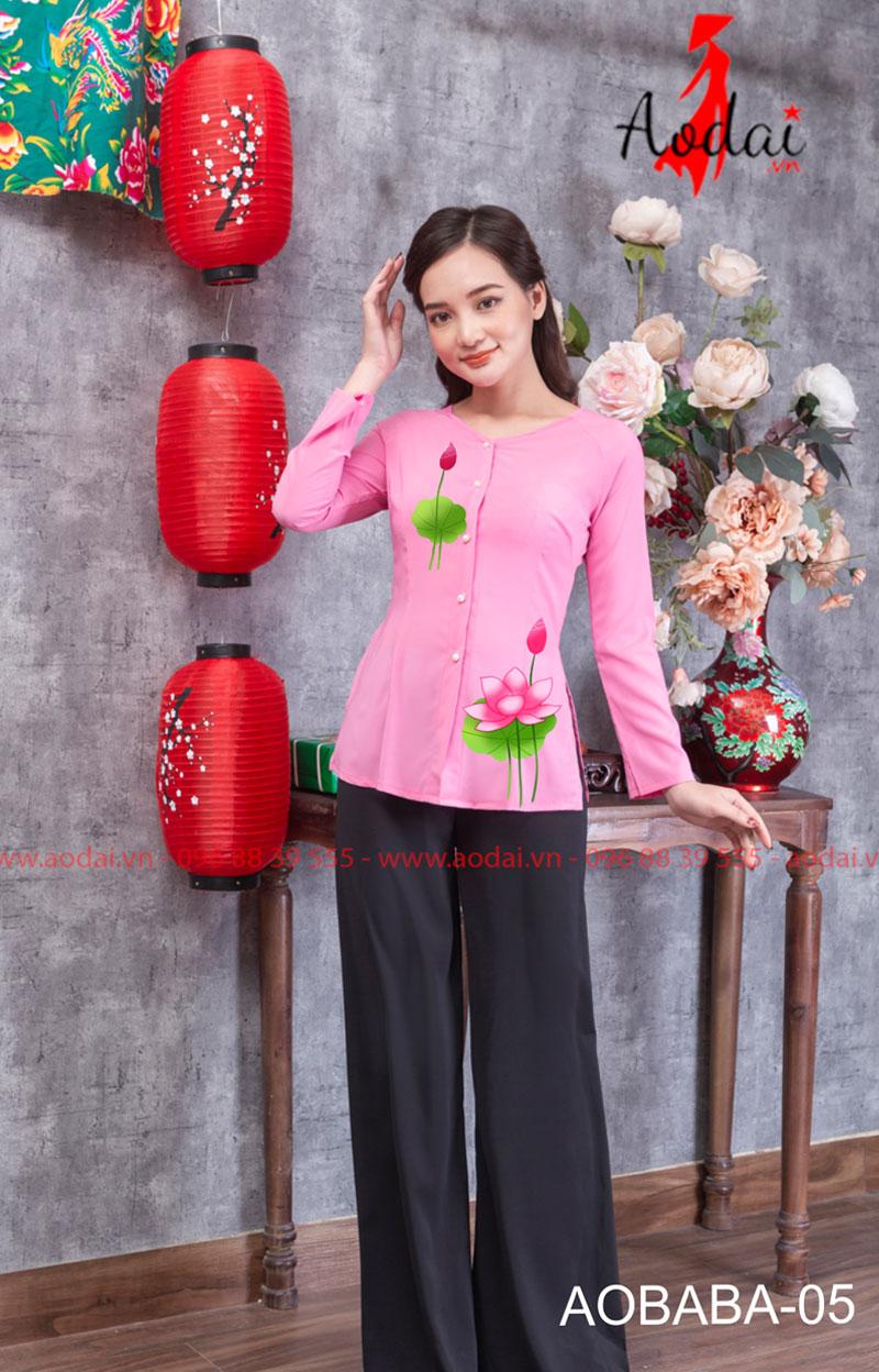 Áo bà ba hoa sen màu hồng 06