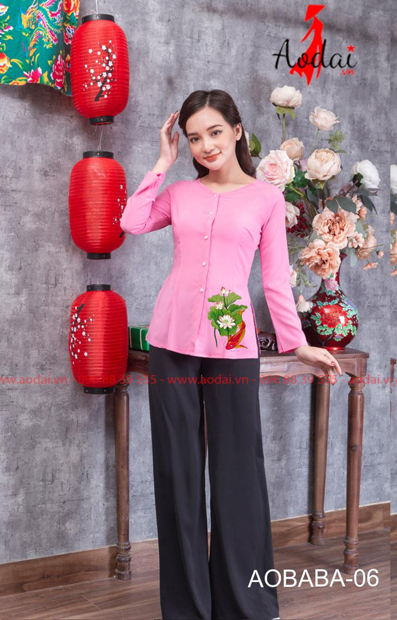 Áo bà ba hoa sen màu hồng 08