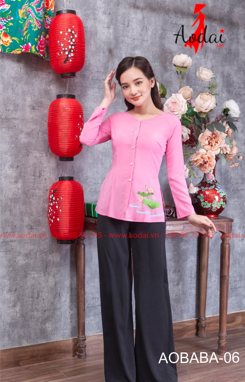 Áo bà ba hoa sen màu hồng 09