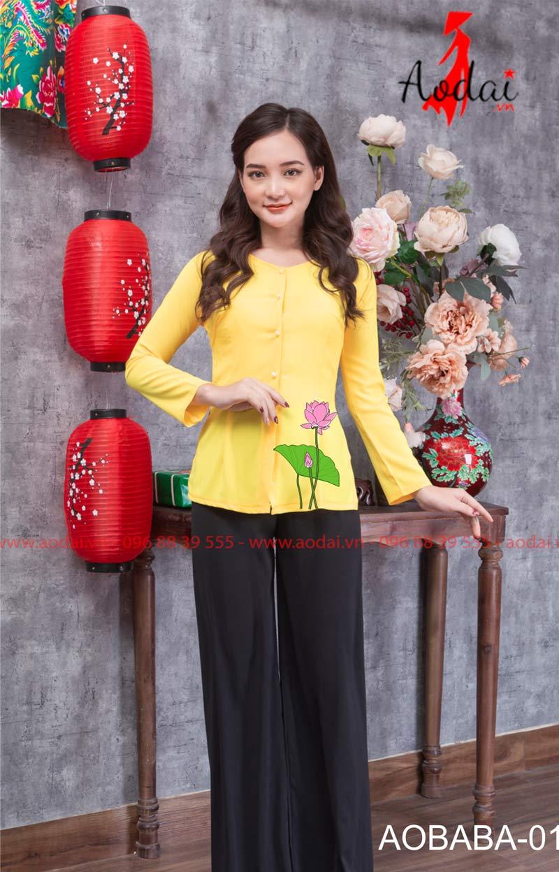 Áo bà ba hoa sen màu vàng 01