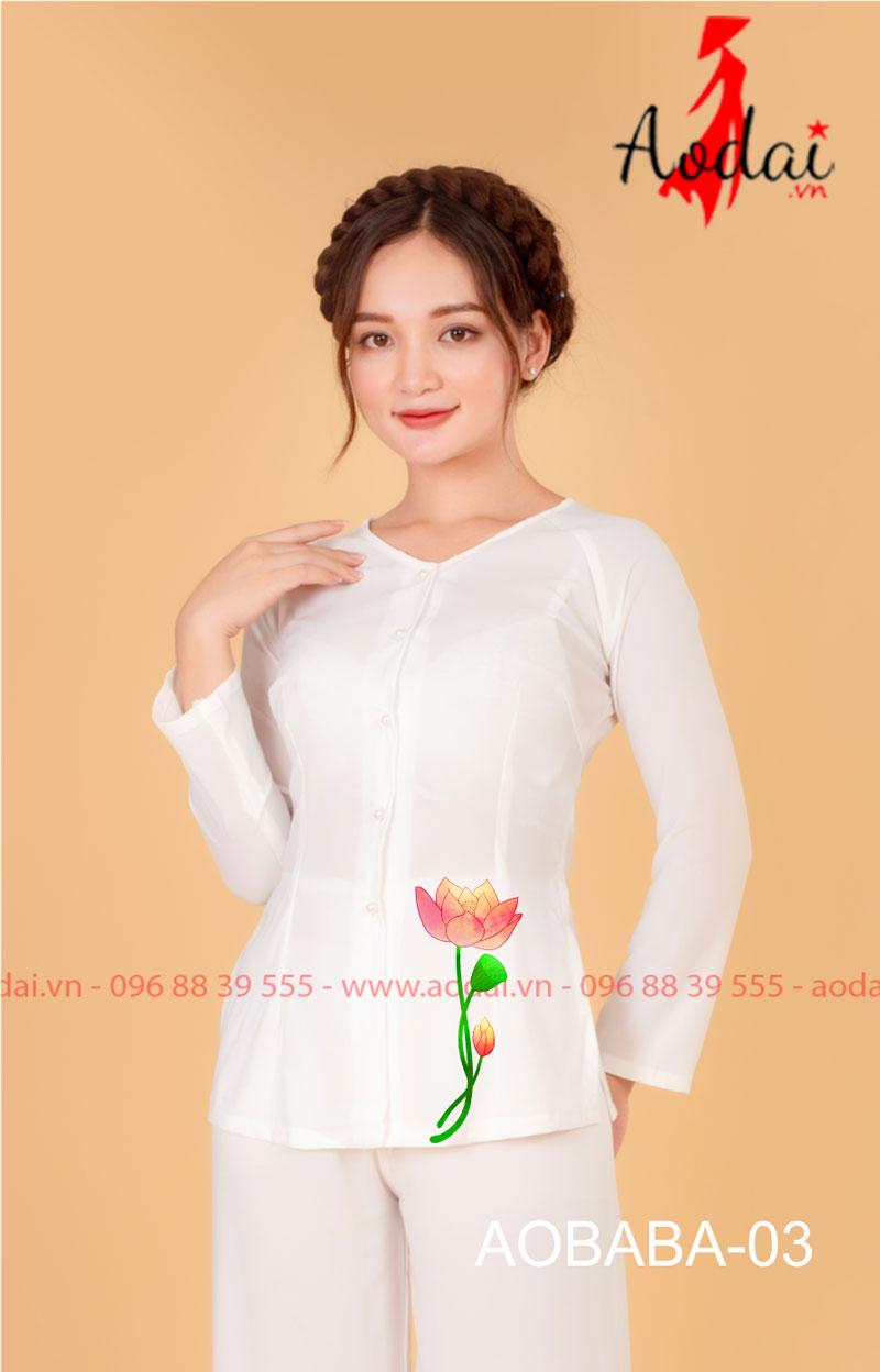 Áo bà ba hoa sen màu trắng - Quần trắng 01