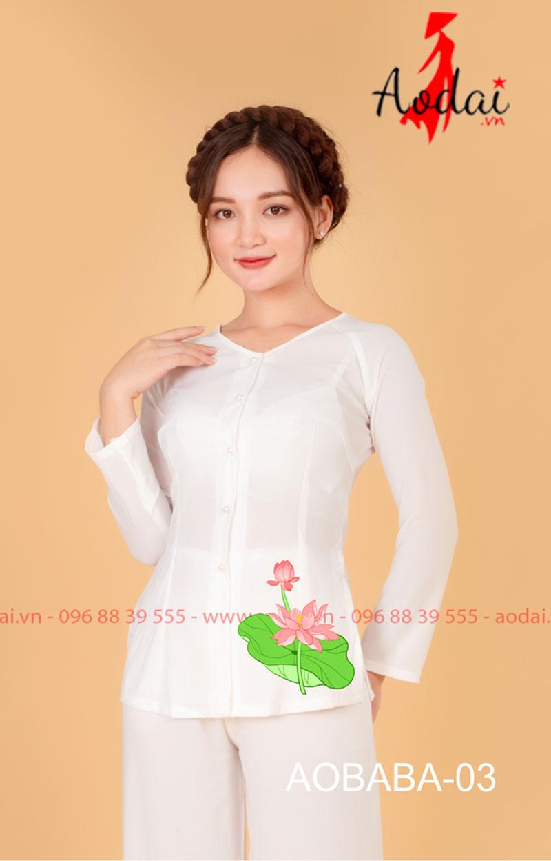 Áo bà ba hoa sen màu trắng - quần trắng 02