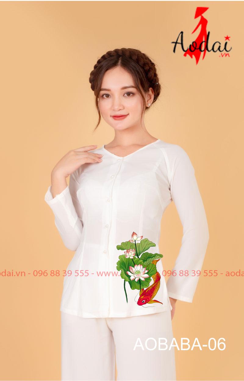 Áo bà ba hoa sen màu trắng - quần trắng 05