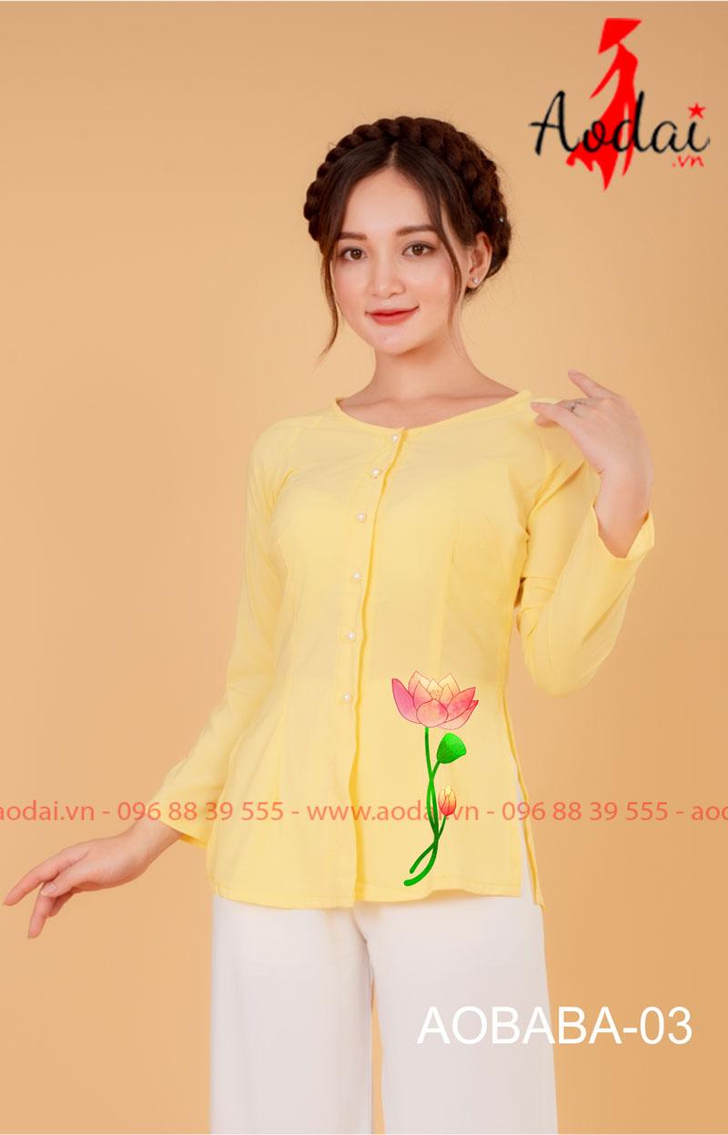 Áo bà ba hoa sen màu vàng - quần trắng 01