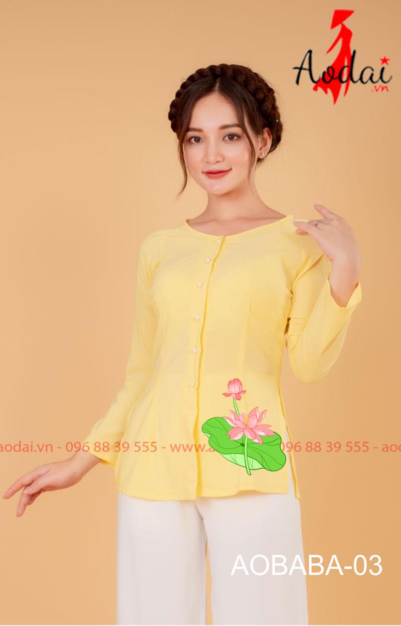 Áo bà ba hoa sen màu vàng- quần trắng 02