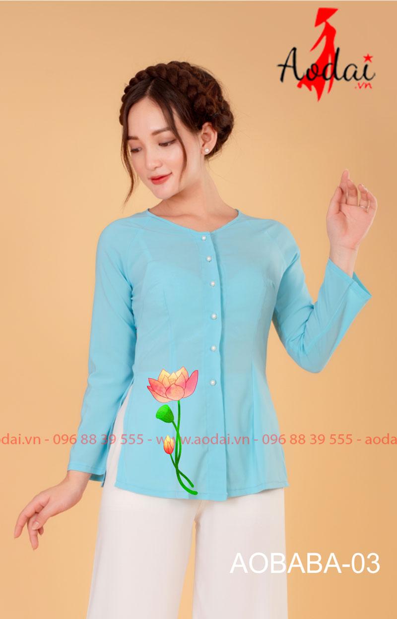 Áo bà ba hoa sen màu xanh da trời - quần trắng 01