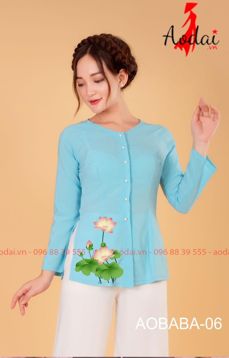 Áo bà ba hoa sen màu xanh da trời - quần trắng 04