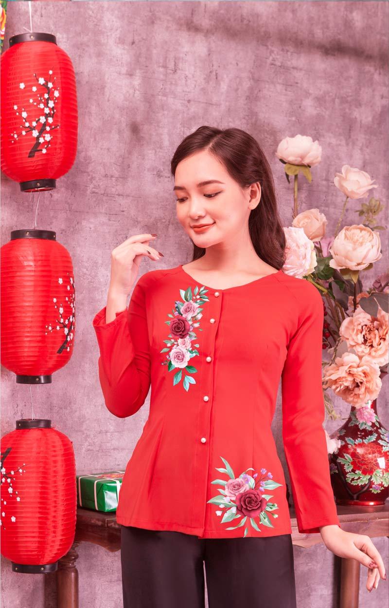 Áo bà ba in hoa hồng màu đỏ