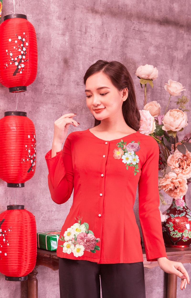 Áo bà ba in hoa màu đỏ 01