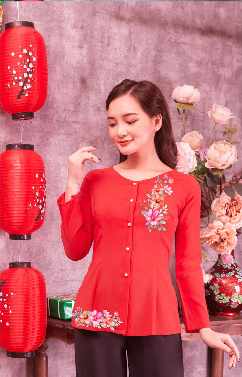 Áo bà ba in hoa màu đỏ 02