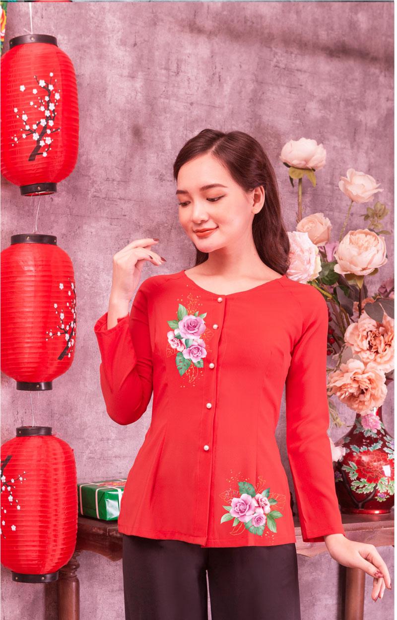Áo bà ba in hoa màu đỏ 03