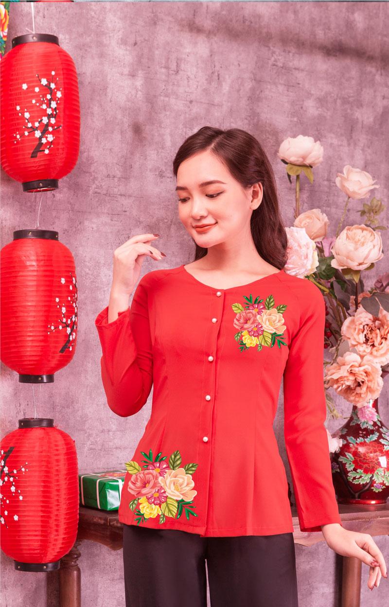 Áo bà ba in hoa màu đỏ 05