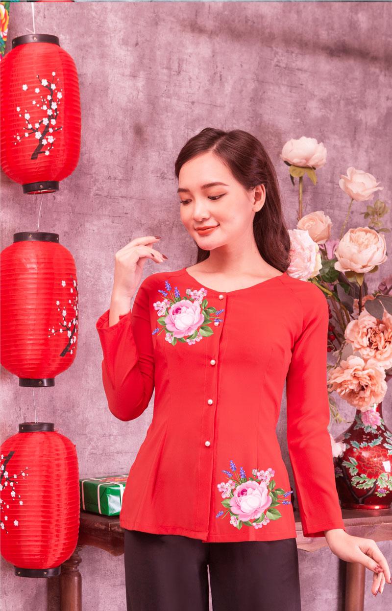 Áo bà ba in hoa màu đỏ 06