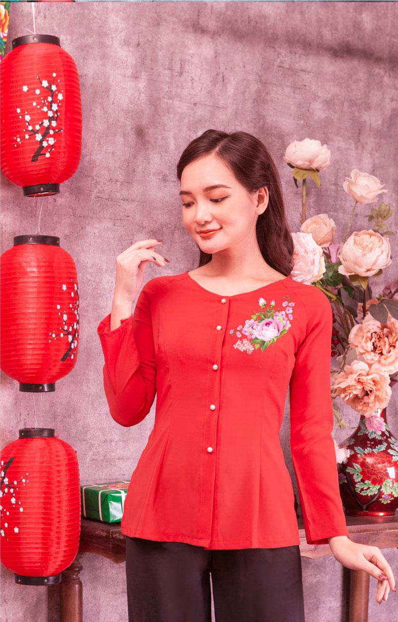 Áo bà ba in hoa màu đỏ 07