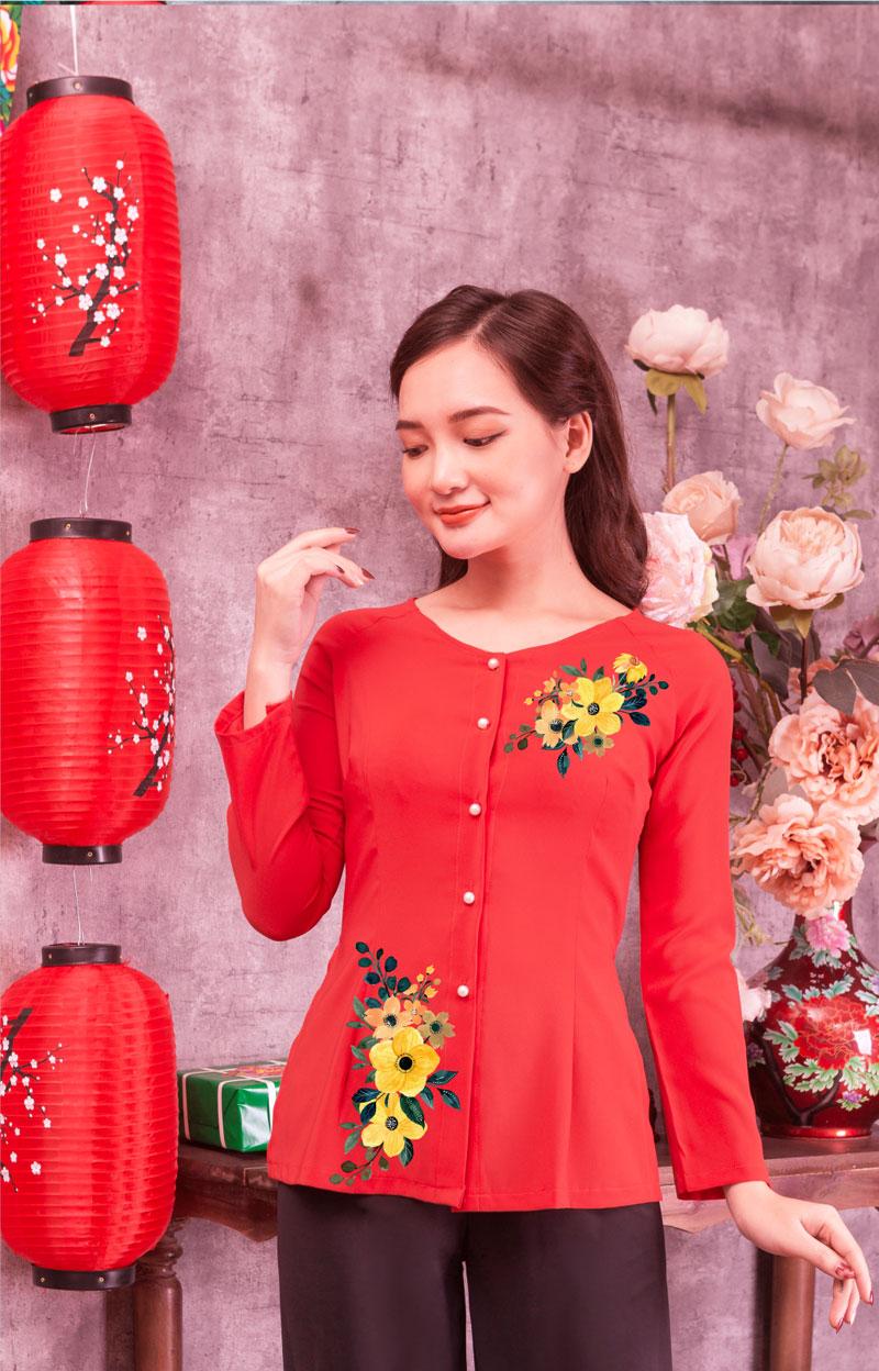 Áo bà ba in hoa màu đỏ 08