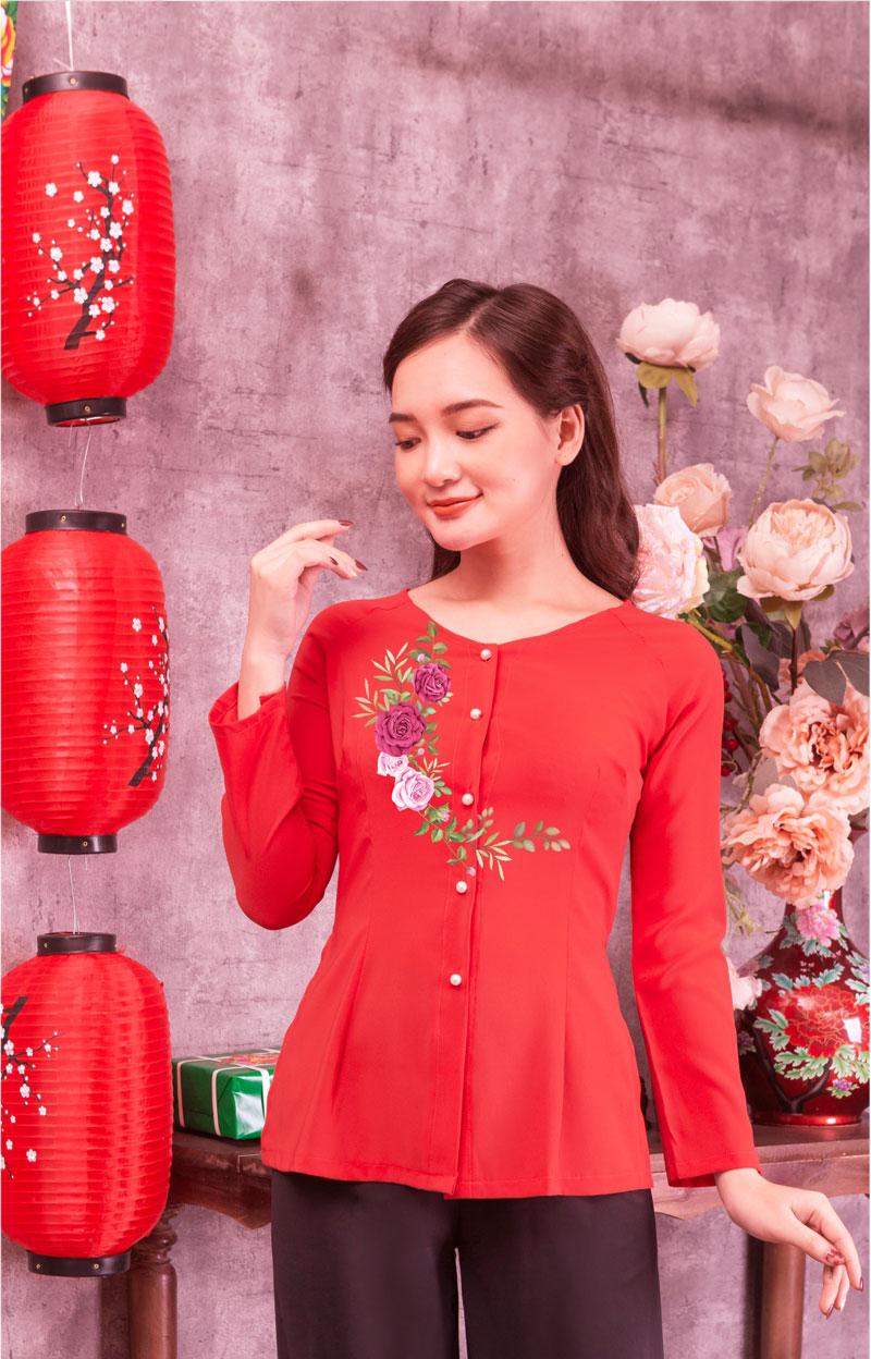 Áo bà ba in hoa màu đỏ 09