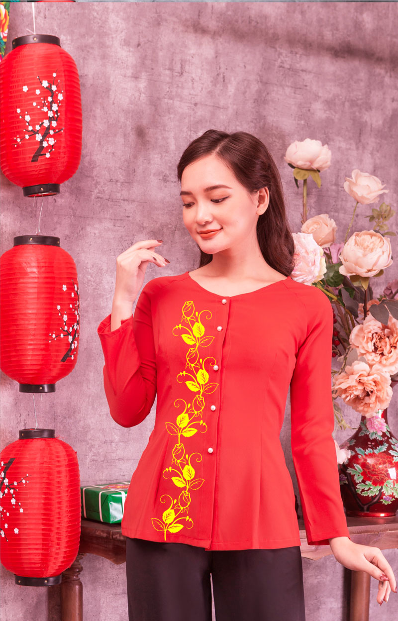Áo bà ba in hoa màu đỏ 14