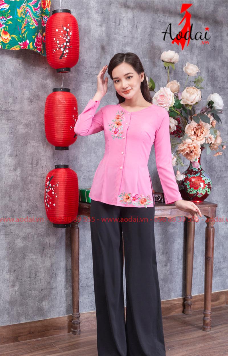 Áo bà ba in hoa màu hồng 02