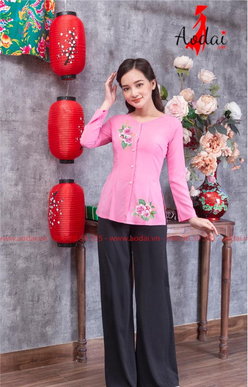 Áo bà ba in hoa màu hồng 03
