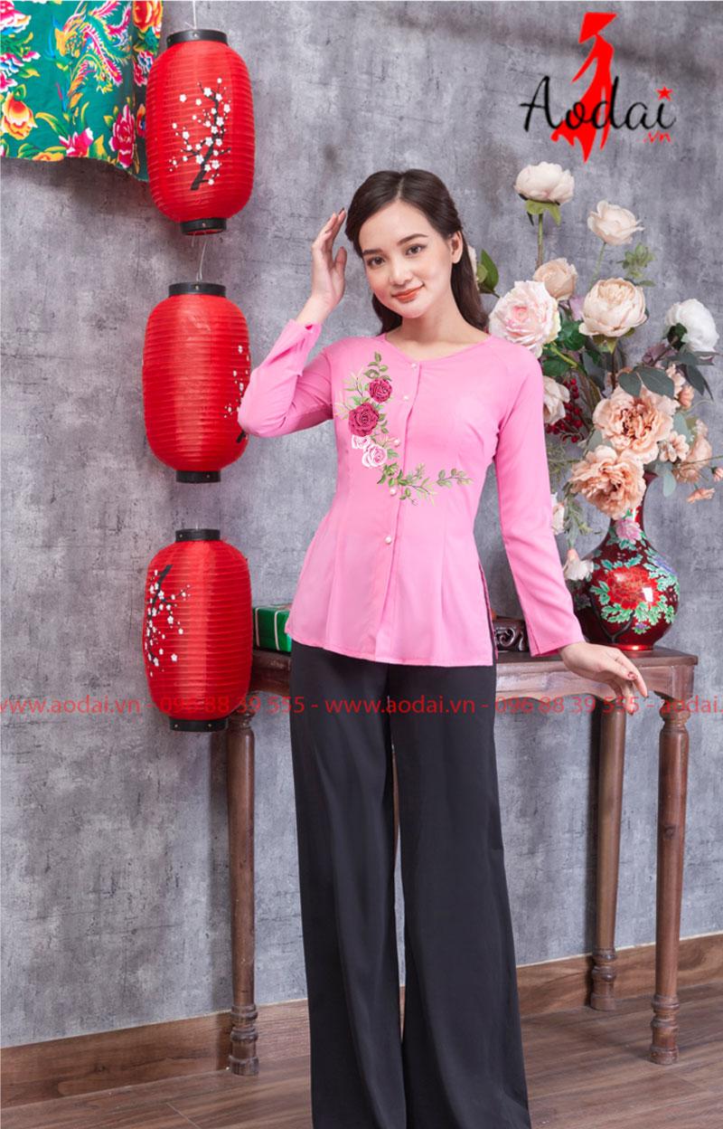 Áo bà ba in hoa màu hồng 09