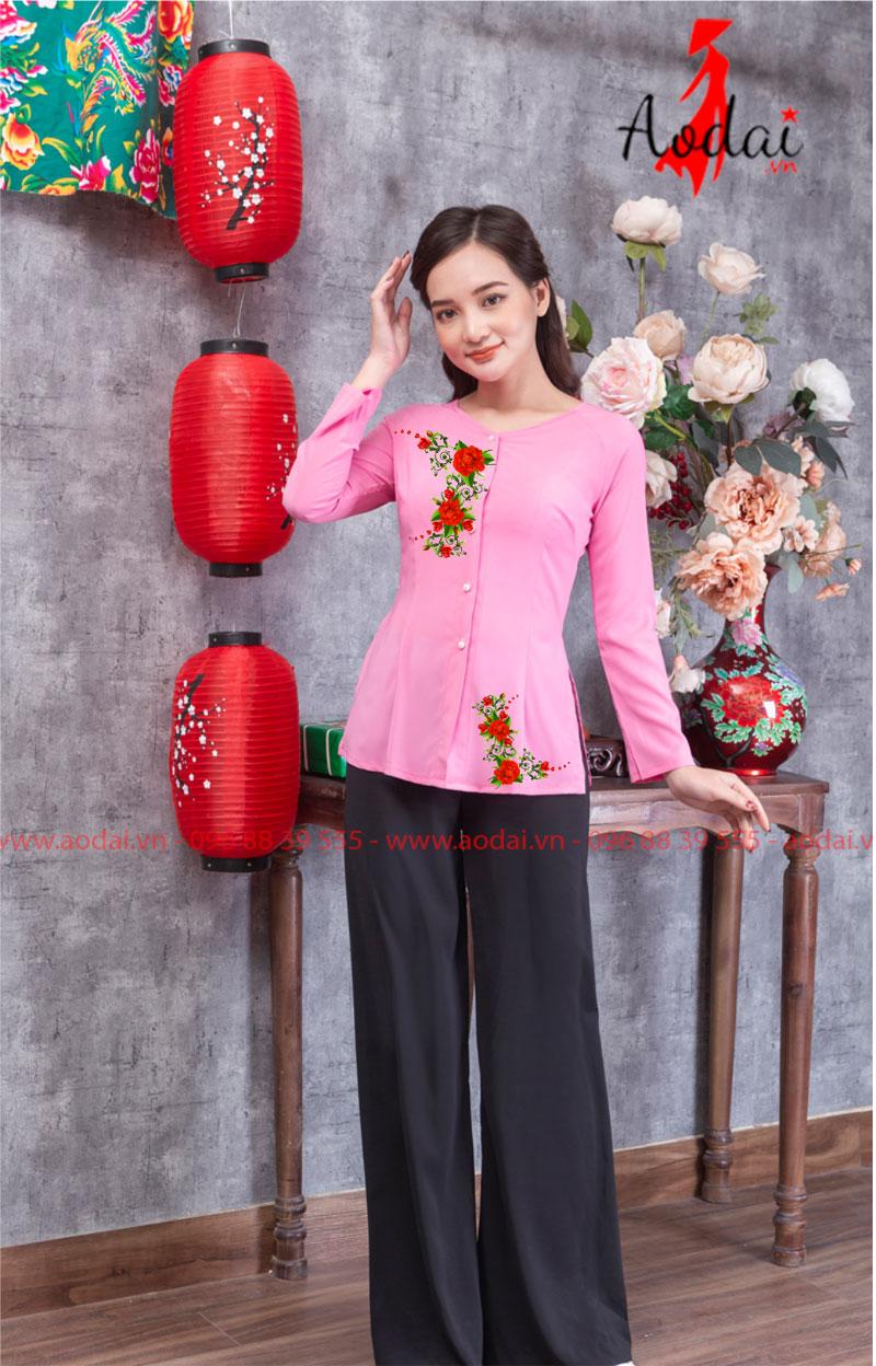 Áo bà ba in hoa màu hồng 12