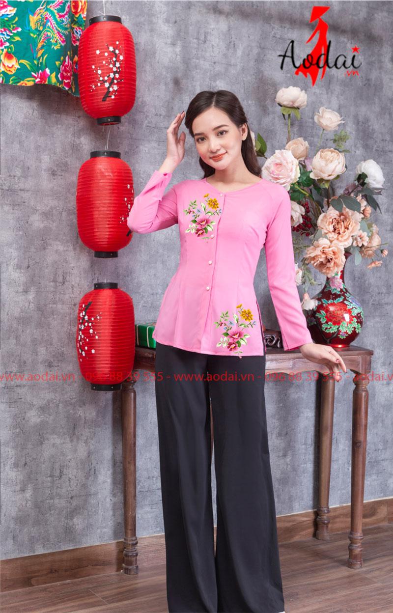 Áo bà ba in hoa màu hồng 16