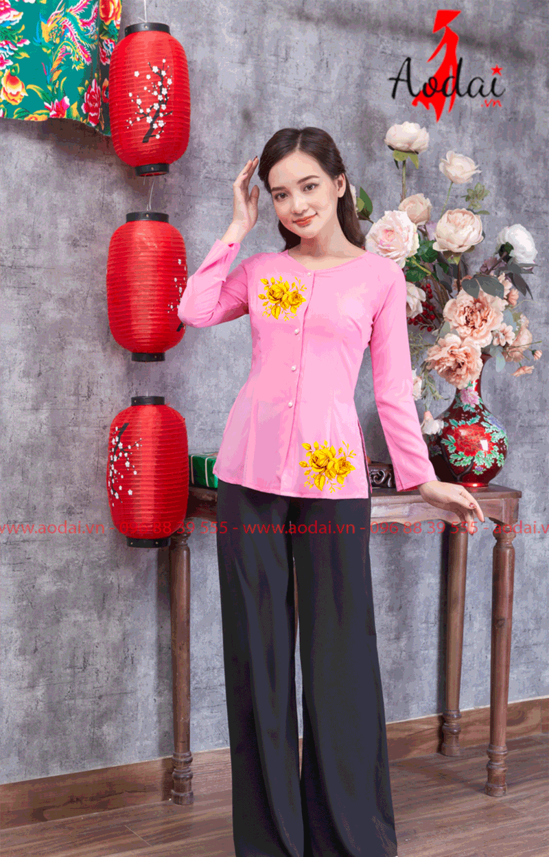 Áo bà ba in hoa màu hồng 22
