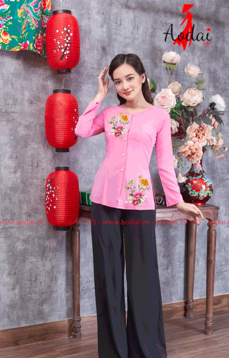 Áo bà ba in hoa màu hồng 23