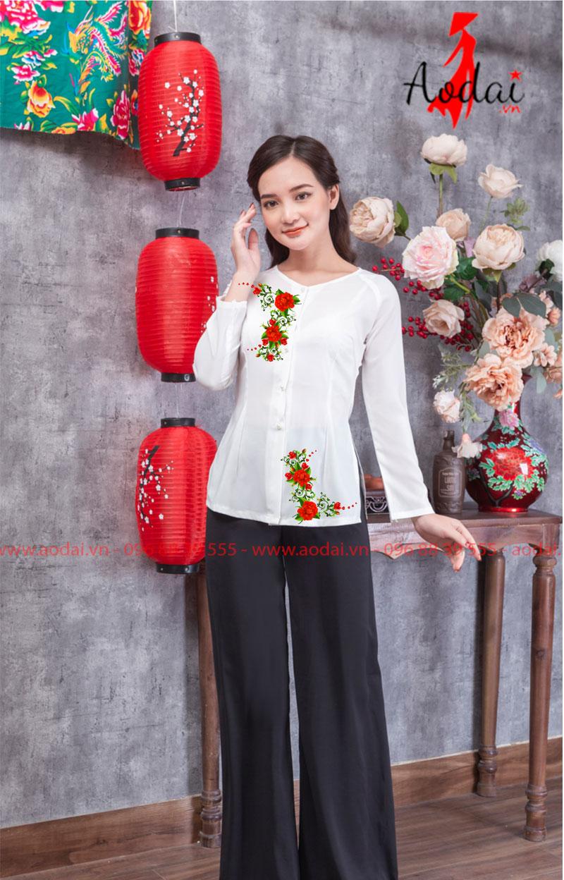 Áo bà ba in hoa màu trắng 12