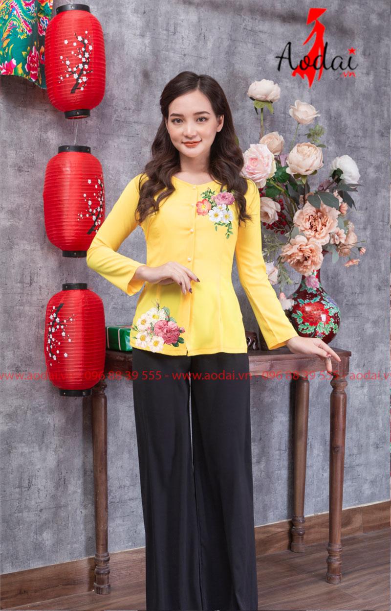 Áo bà ba in hoa màu vàng 01