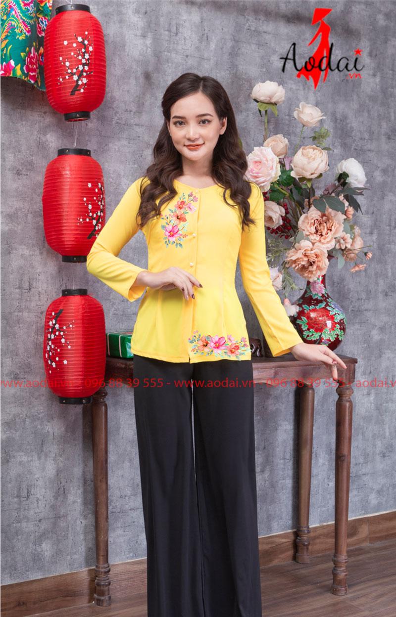 Áo bà ba in hoa màu vàng 02