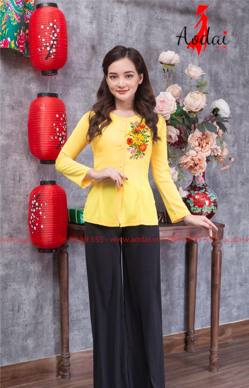 Áo bà ba in hoa màu vàng 04