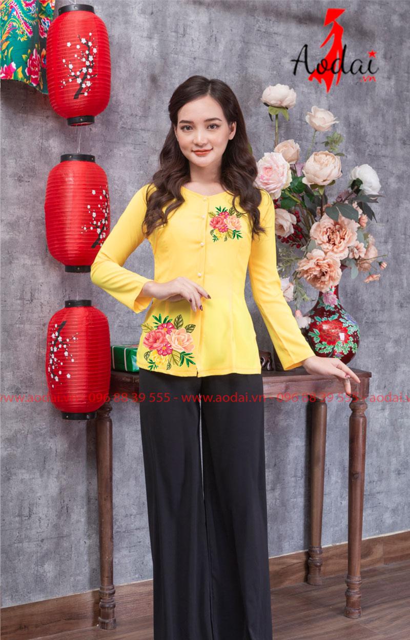 Áo bà ba in hoa màu vàng 05