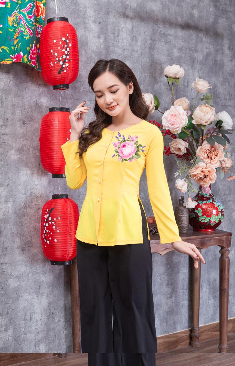 Áo bà ba in hoa màu vàng 06