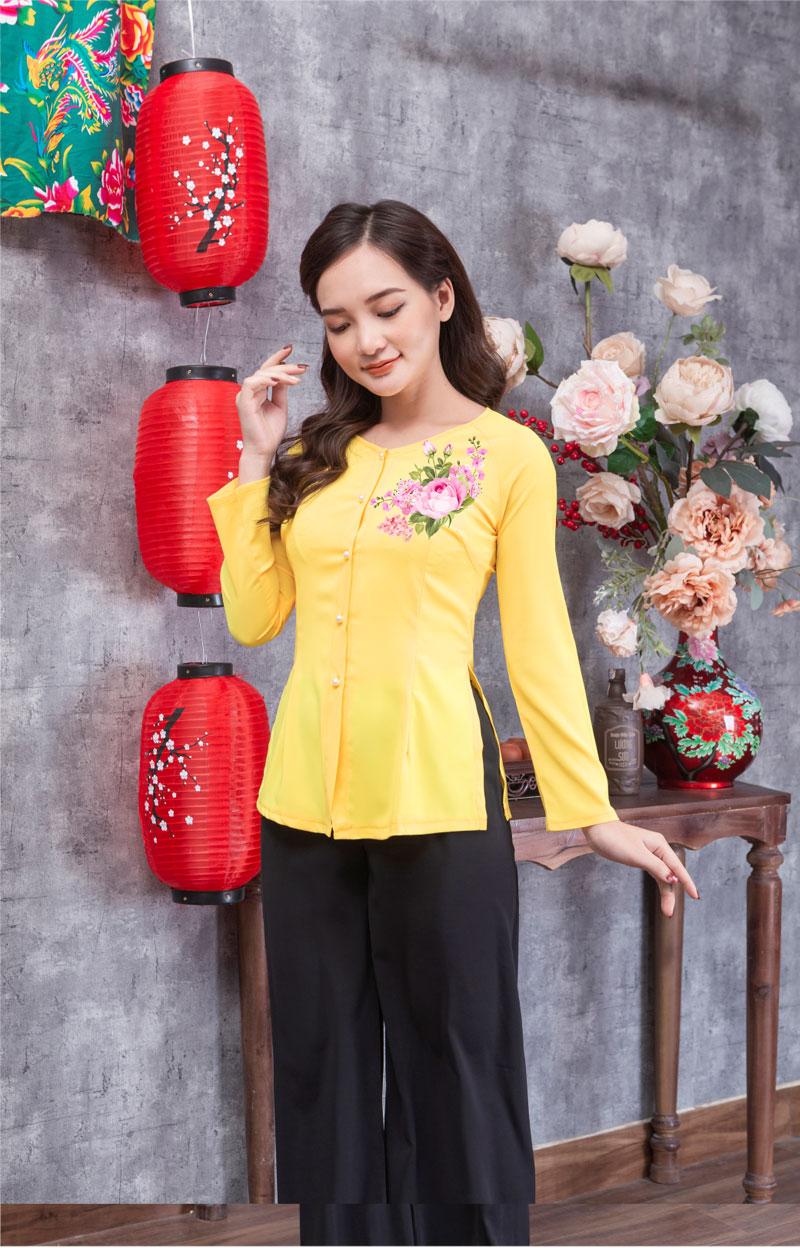 Áo bà ba in hoa màu vàng 07
