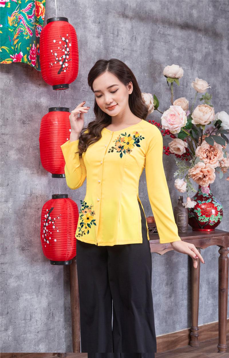 Áo bà ba in hoa màu vàng 08