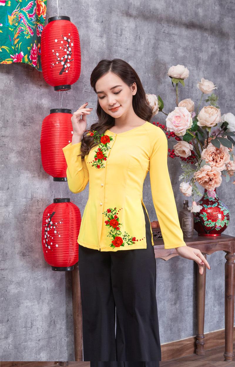 Áo bà ba in hoa màu vàng 12