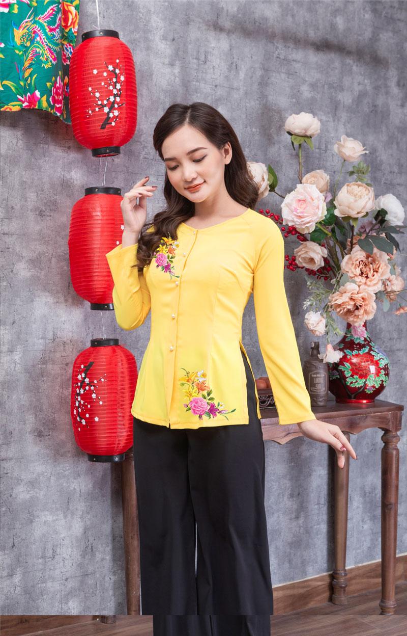 Áo bà ba in hoa màu vàng 18